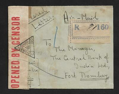 Bahrain To India Airmail Cover Censor 1941 Rare Label