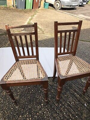 Vintage Oak Rattan Seat Dining Room Chairs X 2