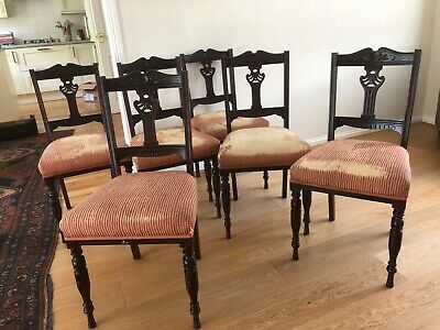 Attractive set of 6 six antique late-Victorian/Edwardian mahogany dining chairs