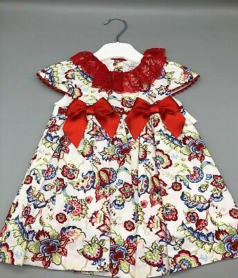 Girls Spanish Double Ribbon Bow Floral Dress Set  0-36 mths