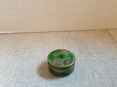 Beautiful~GREEN CLOISONNE ENAMEL FLORAL~ Lily Pads~ PILL BOX