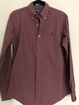 Mens Polo By Ralph Lauren Cotton Long Sleeved Check Shirt 15. 1/2