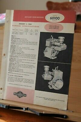 Brochure Briggs Stratton Engine Model 60100 Dealer Specification 4 cycle 1959