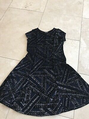 Girls Black And Silver Velour Skater Style Dress By River Island Vgc Size 9/10
