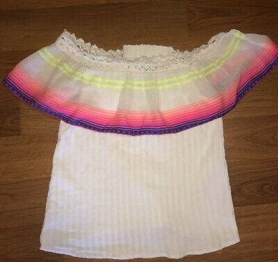 Ban Jara Women's Top Off Shoulder Stripe  Small Hot Pink Neon Yellow Boutique