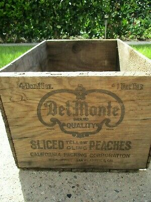 Antique Del Monte Wooden Box Crate Sliced Peaches Black Paint Aged Wood