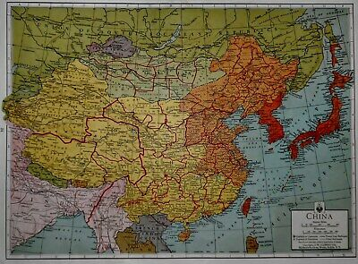 Vintage 1942 Atlas Map World War WWII China Russia USSR Asia Japan India L@@K!