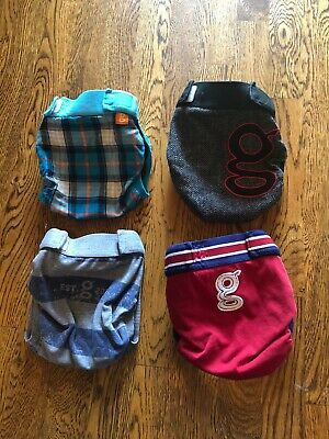 Four GUC Boy Novelty Print gDiapers Large Diaper Covers