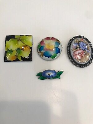 Antique vintage sterling silver and Enamel Cloisonne pins brooches