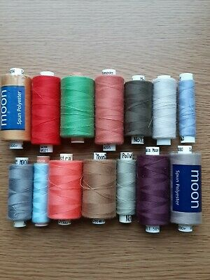 Coates Moon/Astra Spun Polyester Sewing Threads 14 Reels Pre Owned