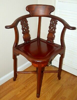 Antique Chinese Hand Carved Wooden Corner Char Original Collectible