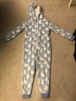 Girls Rabbit Fleece All In One Pajamas Age 8-9 Bluezoo Debenhams Worn Twice