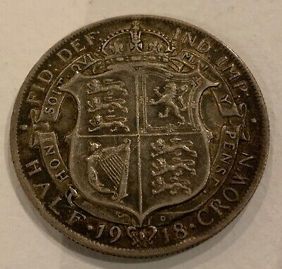 George V British 1918 Silver Half Crown VF Plus Condition