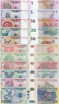 Congo DR 11 Note Set: 1 to 50 Centimes, 10 to 500 Francs (1997/2007) UNC