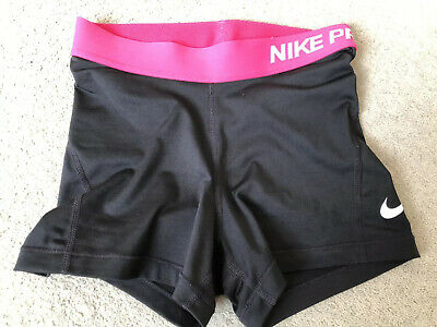 "Ladies NIKE PRO Dri Fit 10"" Long Exercise Shorts Black & Pink - Size XS"