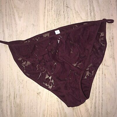 Vintage Cacique String Bikini Panties Maroon Lace Mesh Stretch Floral 14/16