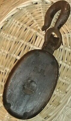 Vintage Antique Barn Double Wooden Pulley Country Rustic 6 PAT R.B ANVIL MARK