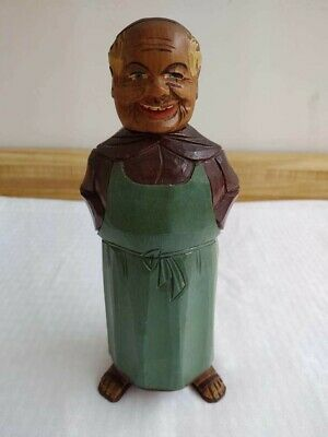 Antique hand carved painted wood decanter bottle Austrian musical monk