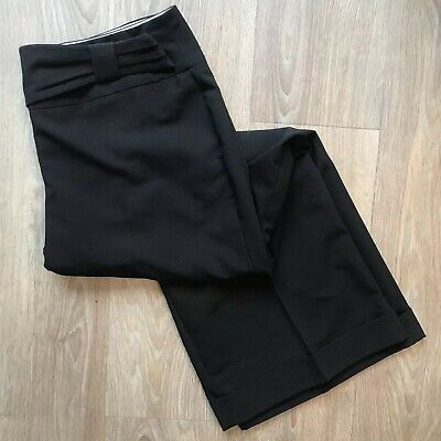 """Dorothy Perkins - 16 Large 31"""" Length - Black Wide Straight Trousers Bow Detail"""