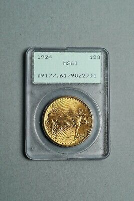 1924 United States $20 Dollar Saint Gaudens Gold Double Eagle Coin PCGS MS 61
