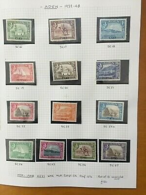 Aden Kgv1 -1939/48 Full Unmounted Mint Set Of 13 Stamps - Cat @ £120