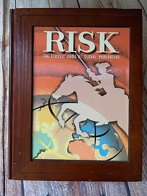 NEW Parker Brothers RISK Vtg Game Collection Wooden Library Bookshelf Wood Box