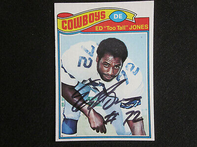 1977 Topps Ed TOO TALL JONES Dallas Cowboys Signed Football Card #314 NM-MT