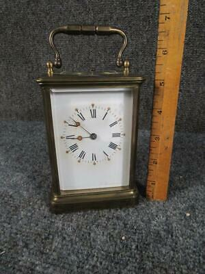 ANTIQUE BIGELOW KENNARD FRENCH BRASS CARRIAGE CLOCK, MOVEMENT signed A.M.,J.C.Co
