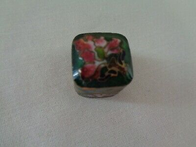 """Vintage Chinese Floral Enamel Cloisonne Pill Snuff Trinket Box Hinged Tiny 3/4"""""""
