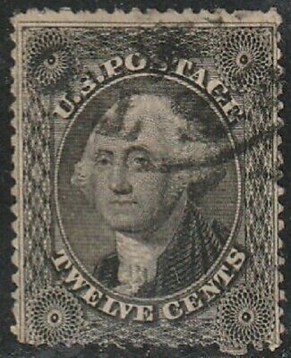 #36 Washington 12c Plate 1 Issue of 1857; Fine Used; No Hidden Faults