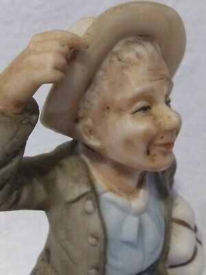 """Napco figurine statue, 6.5"""" Tall, Old Man With Package and Sack"""