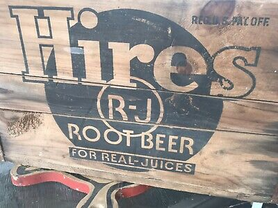 Antique Old Hires Rj Root Beer Wooden Crate Box