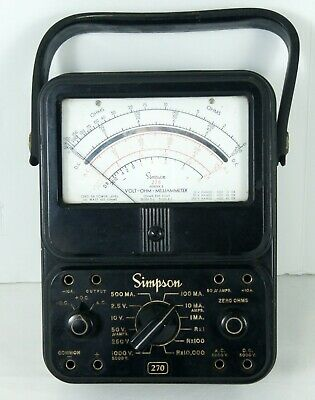 Vintage Simpson 270 Series 2 Analog Multimeter VOM Volt Ohm Meter Untested
