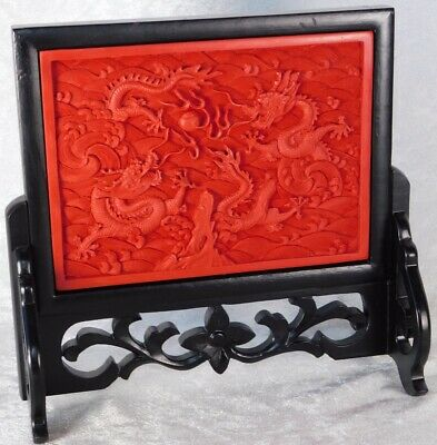 VTG CHINESE Cinnabar Lacquer 5 Toe Dragon Wood Table Plaque Screen 9""