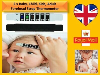 2Pcs Kids Forehead Head Thermometer Strip Baby Body Fever Temperature Test *NoF*