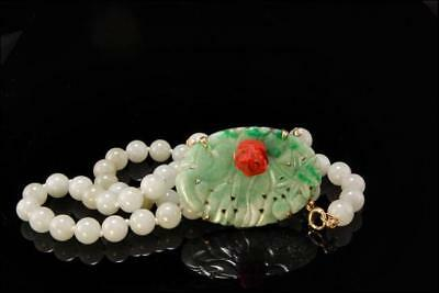 Antique Chinese Carved Apple Green Jadeite Jade Ox Blood Coral 14K Gold Necklace