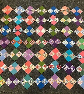 Lot Of 50 Vintage Feedsack Cotton 4 Patch Quilt Blocks - Nice Variety Of Fabri