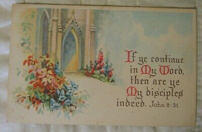 Estate Sale ~ Vintage 1924 Postcard - Bible Verse - John 8:31