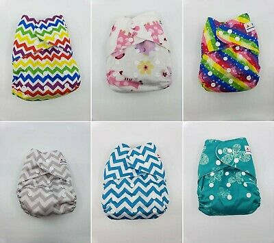 Alva Baby Pocket Cloth Diapers One Size lot of 6 with inserts.