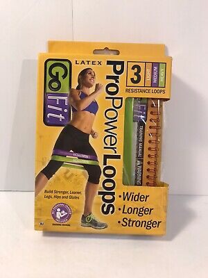 GOFIT GO FIT Latex Pro Power 3 Resistance Loop Bands Light Medium Heavy + Book