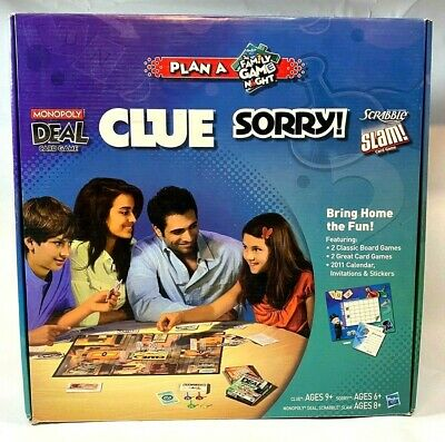 Plan A Family Game Night Game Box - Clue, Sorry, Scrabble, Monopoly - Hasbro