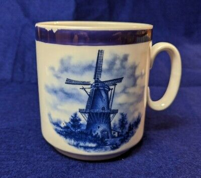 Ter Steege Blue Delft BV Blauw Hand Decorated in Holland Coffee White Blue Mug