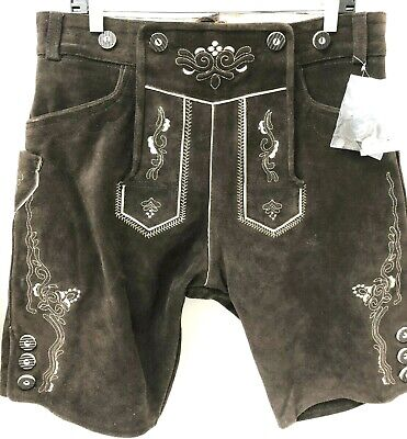 Lederhosen4U Brown Suede German Short Bavarian Lederhosen waist 36 no suspenders