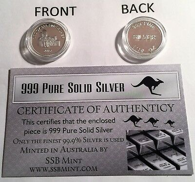 """2012 """"The Simpsons"""" 1/10th Ounce 99.9% Pure Solid Silver Bullion Coin with C.O.A"""