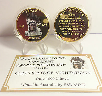 """NEW Indian Chief Series """"GERONIMO"""" 1 Oz Coin C.O.A. Finished in 999 24k Gold"""