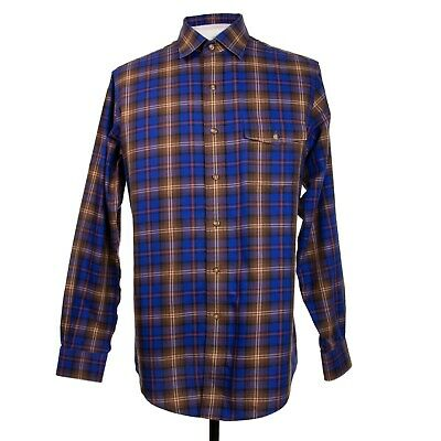 Brooks Brothers Slim Fit Mens M Blue Brown Plaid Check Cotton Non Iron LS Shirt
