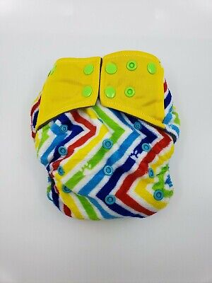 Happy Flute charcoal bamboo all in one cloth diaper - Rainbow chevron
