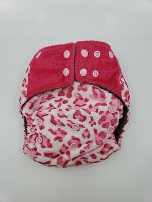 Happy Flute charcoal bamboo all in one cloth diaper - Pink leopard print
