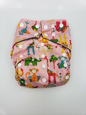 Happy Flute charcoal bamboo all in one cloth diaper - Pink animals