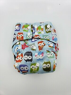 Happy Flute charcoal bamboo all in one cloth diaper - Owls